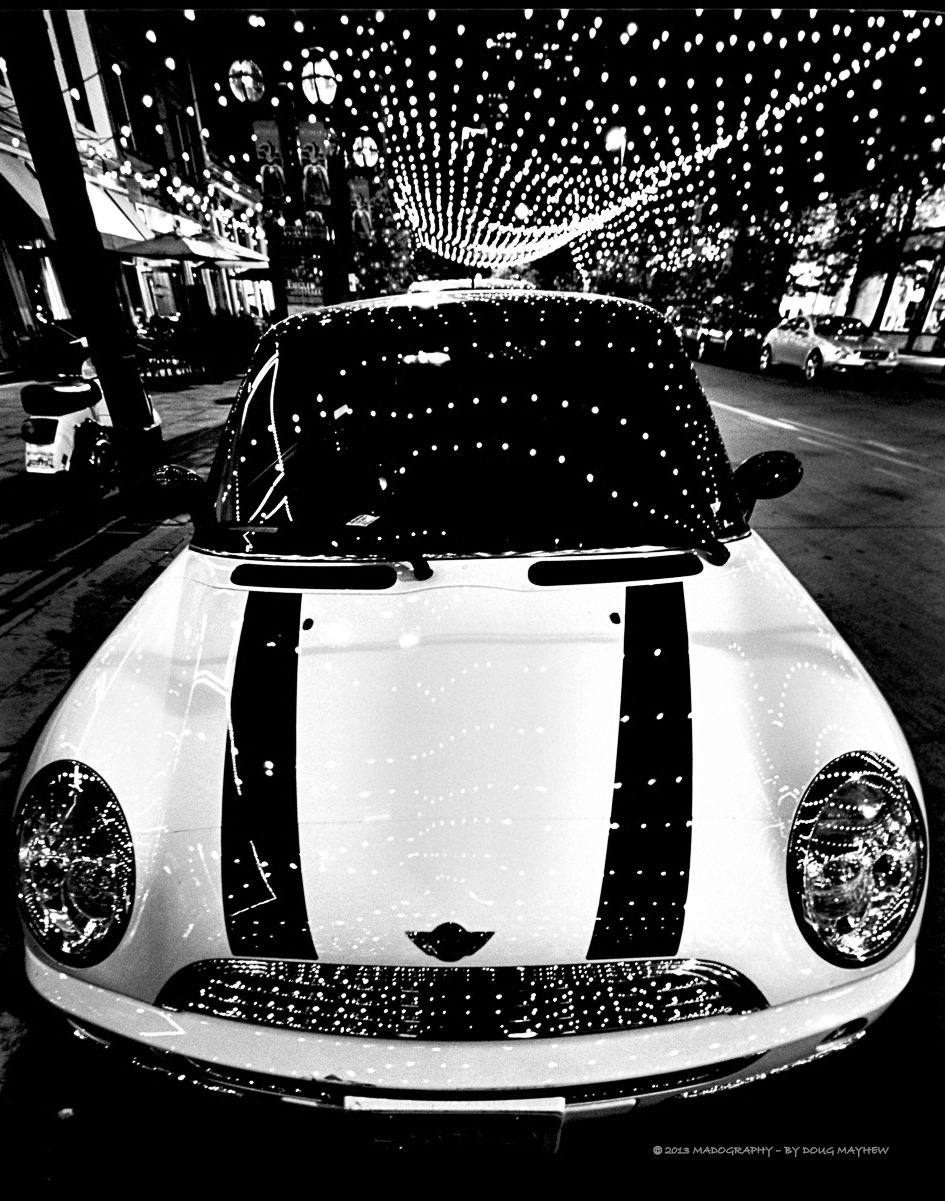 Mini Cooper City Lights Denver Colorado Image